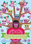 Írószerek-iskolaszerek - Szülinapi képeslap, baglyok a fán