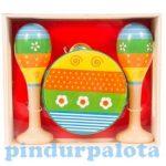 Hangszerek - Hangszerkészlet gyerekeknek, fa csörgődob és marakas