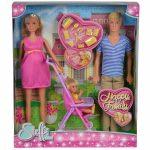 Műanyag babák - Barbie babák - Steffi Love Boldog család terhes baba, apuka kislány kiegészítőkkel