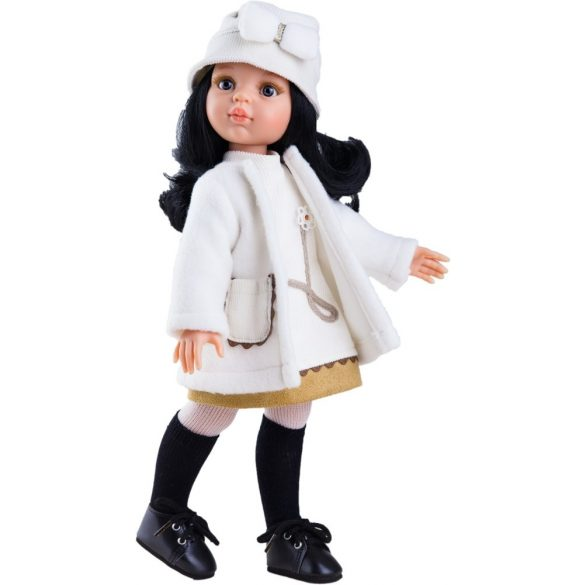08eefeff5e Babaruha - Paola Reina kiegészítő fehér kabát, ruha, kalap 32 cm-es babákra  .