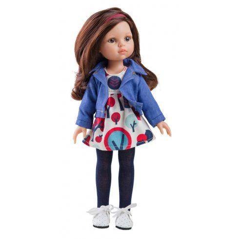Babaruha - Paola Reina kiegészítő mintás nyári ruha kabáttal 32 cm-es babákra