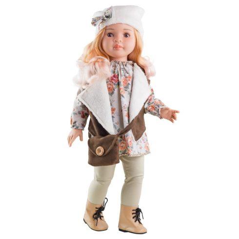 Babaruha - Paola Reina kiegészítő - Virágmintás ruha és barna mellény 60 cm-es babákra