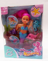 Műanyag babák - Sellő baba Simba EVI Love 12 cm Vizi állatokkal