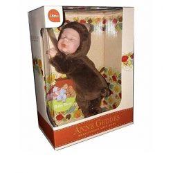 Újszülött játékbabák - Karakterbabák - Anne Geddes puhatestű babafigura barna maci szettben 23cm