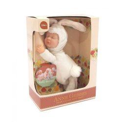 Újszülött játékbabák - Karakterbabák - Anne Geddes puhatestű babafigura fehér nyuszi szettben 23cm