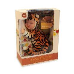 Újszülött játékbabák - Anne Geddes puhatestű babafigura tigris szettben 23cm