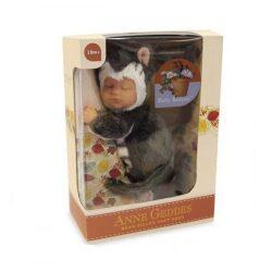 Újszülött játékbabák - Karakterbabák - Anne Geddes puhatestű babafigura cica szettben 23cm