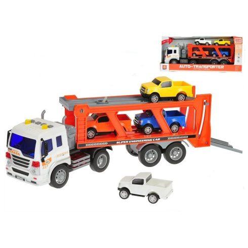 Műanyag járművek - Auto Transporter kocsiszállító teherautó, fénnyel hanggal City Service