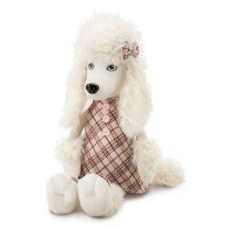 Plüss kutyák - Orange Toys, Lora the Poodle plüsskutya kockás ruhában, közepes