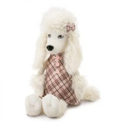 Plüss kutyák - Orange Toys, Lora the Poodle plüss kutya kockás ruhában, nagy