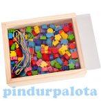 Kézségfejlesztő - Fűzős játékok - Fa gyöngyfűző készlet fadobozban