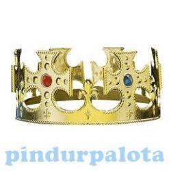 Jelmezek - Jelmez kiegészítők - Korona arany műanyag drágakövekkel