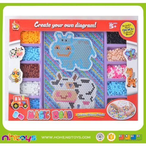 Fűzős játékok gyerekeknek - Gyöngyök - Gyöngy szett állatos viziló és tehén