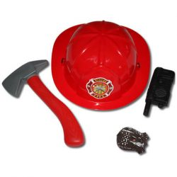 Jelmezek - Jelmez kiegészítők - Tűzoltó kalap jelvénnyel és több kiegészítővel