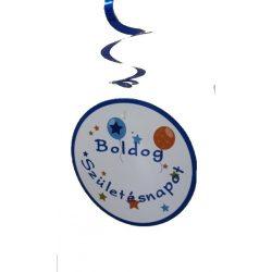Színes Boldog Születésnapot spirálos függődísz felirat 8db többféle változatban 60cm