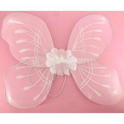 Jelmezek - Jelmez kiegészítők - Jelmez fehér pillangó virággal, fejdísszel és pálcával