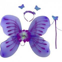 Jelmezek - Jelmez kiegészítők - Jelmez lila pillangó virággal, fejdísszel és pálcával