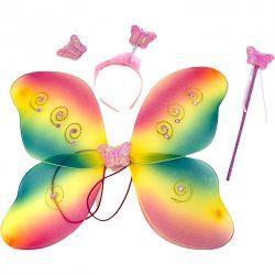 Jelmezek - Jelmez kiegészítők - Jelmez szivárvány színű pillangószárny fejdísszel és pálcával
