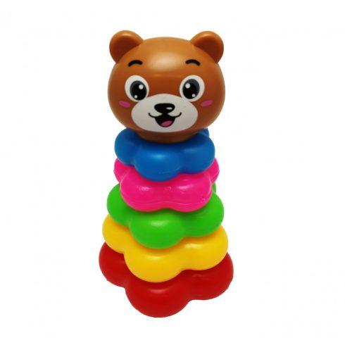 Fejlesztő játékok - Bébi játékok - Toronyépítő macis, 19 cm