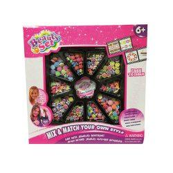 Fűzős játékok gyerekeknek - Gyöngy szett rózsaszín lányoknak