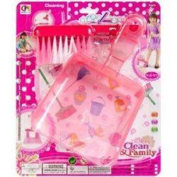 Szerepjátékok - Takarító szett, rózsaszín lapát és kefe