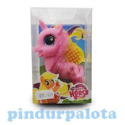 Pónis játékok - Póni figura fésűvel pink