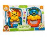 Csörgők kisbabáknak - Csörgő babáknak oroszlán+maci sárga