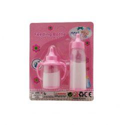 Játék kellékek babázáshoz - Cumisüveg folyadékkal rózsaszín 2db