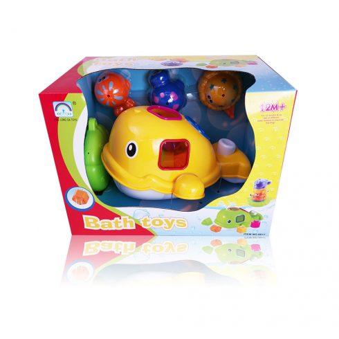 Fürdetős játékok babáknak - Bálnás formabedobó fürdőjáték kiegészítő állatokkal