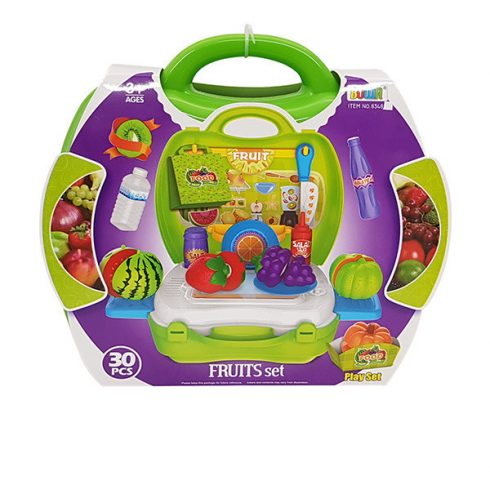 Játék konyhák - Edények - Játék élelmiszerek - Gyümölcs szeletelő készlet bőröndben