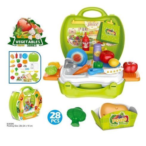 Játék konyhák - Edények - Játék élelmiszerek - Szeletelhető játék ételek bőröndben mosogatóval