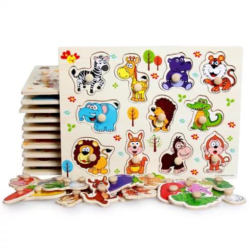 Fa puzzle - Kirakós játékok - Fa fogantyús kirakó vadállatokkal