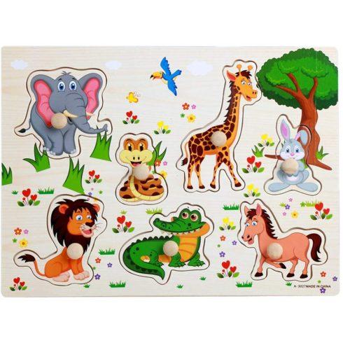 Fa puzzle - állatokkal fogantyús