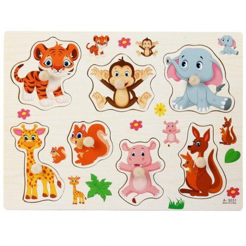Fa játékok - Fa puzzle formabeillesztő állatokkal