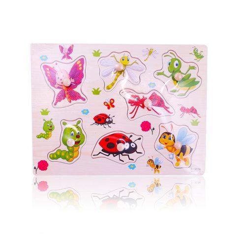 Fa puzzle - Kirakós játékok - Fa fogantyús kirakó, bogarak és rovarok