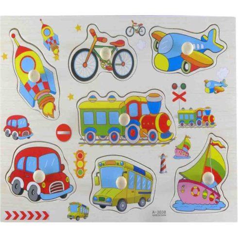 Fa puzzle - Kirakós játékok - Fa fogantyús kirakó járművekkel