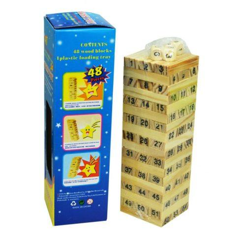 Ügyességi társasjátékok - Imbolygó torony számokkal fából
