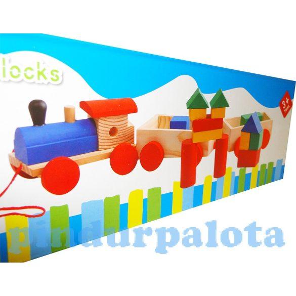 Fa építőkocka Fa huzható vonatban