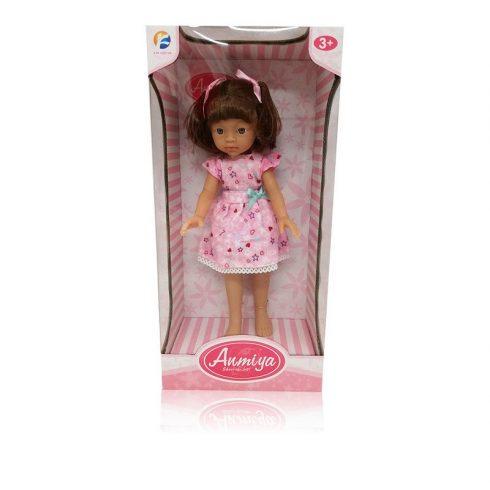 Műanyag babák - Játékbaba rózsaszín ruhában