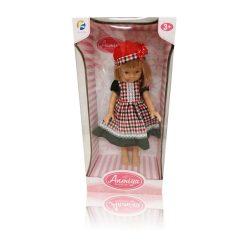 Műanyag babák - Játékbaba kockás ruhában, 33 cm