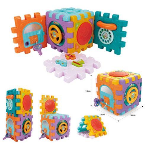 Fejlesztő játékok babáknak - Activity Cube Készségfejlesztő játék kocka babáknak Huanger