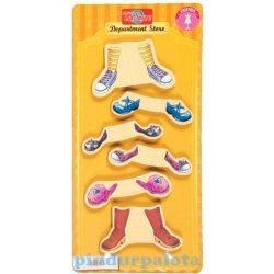Öltöztetős játékok - Fa mágneses öltöztethető baba kiegészítő cipők nagy ruhaszett TS-Shure