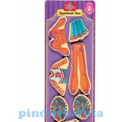 Öltöztetős játékok - Fa mágneses öltöztethető baba kiegészítő pompom lány nagy ruhaszett TS-Shure