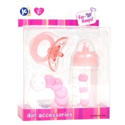 Élethű játékbabák - Berenguer játékbaba felszerelés rózsaszín (csörgő, cumisüveg, cumi)