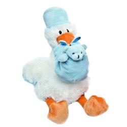 Fiú babát hozó plüss gólya - Babavárási ajándékok