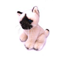 Plüss cicák - Plüss Ragdoll cica ülő bézs színben 18cm