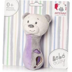 Zenélő bébijátékok - Ajándékok babáknak - Plüss maci sípoló zöld Artesavi