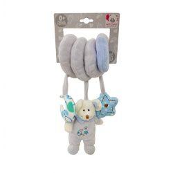 Csörgők kisbabáknak babakocsira - Plüss bébi egér, csörgő, spirálos, kék, Artesavi