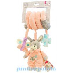 Csörgők kisbabáknak - Plüss bébi szamár csörgő spirálos rózsaszín Artesavi