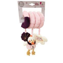 Csörgők kisbabáknak babakocsira - Plüss bébi játék, csibés csörgő, spirálos, rózsaszín, Artesavi